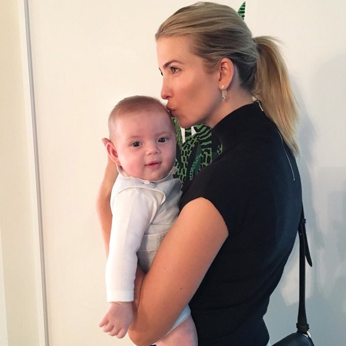 "Nothing sweeter than baby kisses! Theo looked happy to receive a gentle peck from his mom Ivanka. Donald Trump's daughter captioned the tender photo, ""Smooches from baby Theodore.""