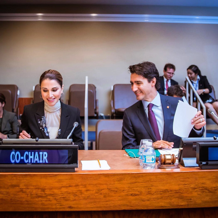 "The mom-of-four was joined by Canada's Prime Minister Justin Trudeau at the UN Summit for Refugees and Migrants. Sharing a candid photo from the summit she wrote, ""This crisis is not just about refugees, nor will the solution simply be for refugees. This crisis is about the future of our interconnected world and about human dignity and decency.""