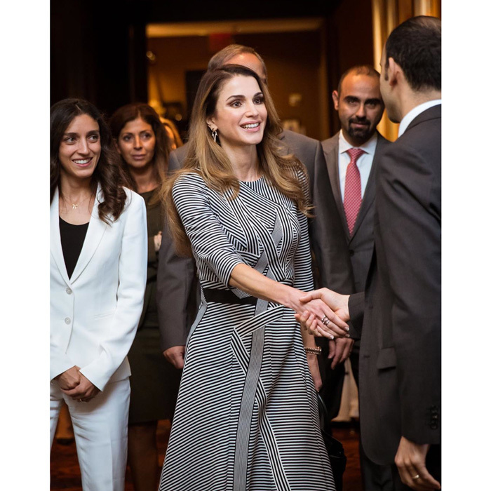 "The stylish royal looked fresh and elegant at an event regarding the work of the Royal Health Awareness Society. Her Majesty noted, ""Glad to have such strong support across borders.""
