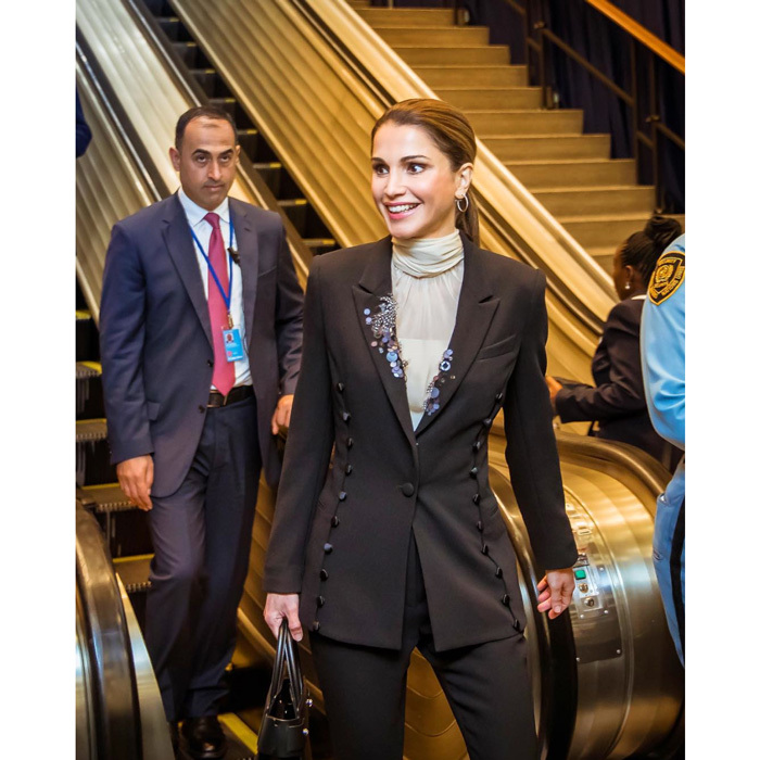 "Off to the United Nations! <a href=""https://us.hellomagazine.com/tags/1/queen-rania/""><strong>Queen Rania</strong></a> jetted to New York, where she attended a UN Summit for Refugees and Migrants. The royal looked professional stepping out in an embellished suit for her day of meetings.