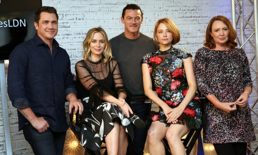 "September 21: Tate Taylor, <a href=""https://us.hellomagazine.com/tags/1/emily-blunt/""><strong>Emily Blunt</strong></a>, Luke Evans, Hayley Bennett and author Paula Hawkins posed during <i>The Girl on the Train</i> AOL Build Speaker series in London. 