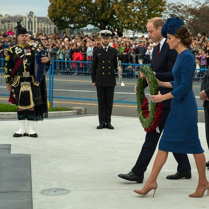 Kate and William prepared to lay a wreath at the Cenotaph paying tribute to the Canadian veterans who were involved in the Afghanistan conflict.