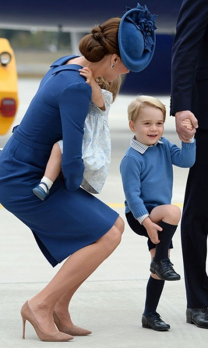 September 2016: Already a pro on the royal tour circuit, Prince George was all smiles upon arrival into Canada with his parents and sister Princess Charlotte. At one point, Kate asked her three-year-old son if he was alright.
