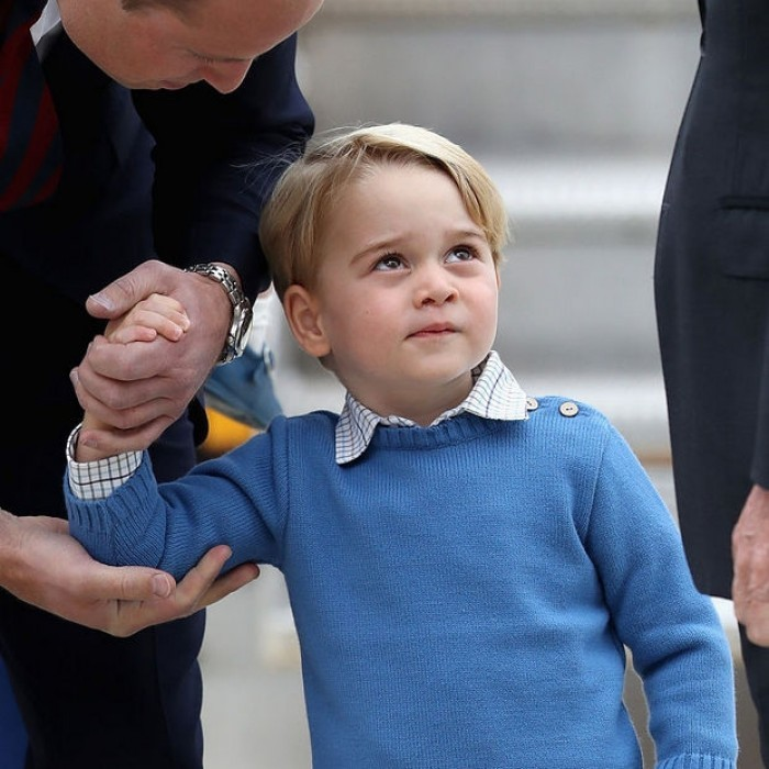 It's no secret the little Prince loves airplanes and helicopters. His attention was taken away from meeting Prime Minister Justin Trudeau as a fighter helicopter flew over head.