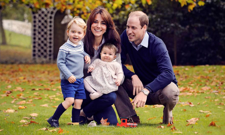 "Season's greeting from the Cambridges! The little family posed for a sweet photo together at the end of 2015. Attached to the portrait a message read: ""The Duke and Duchess are hugely appreciative of all the warm messages they have received about their family this year and are very much looking forward to their first Christmas as a family of four.""