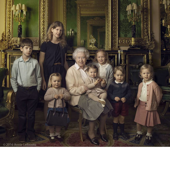 The Duke and Duchess of Cambridge's children were joined by their cousins at Windsor Castle for a photo with their great-grandmother, Queen Elizabeth, in honor of her 90th birthday in April 2016.