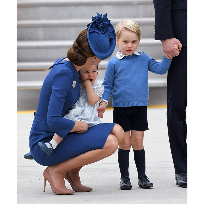 The Cambridge siblings appeared intrigued by their new surrounding while on the tarmac of Canada's Victoria Airport, where they were beginning their royal tour of the North American country. 