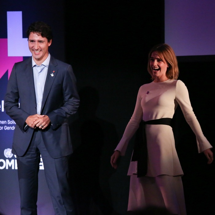 September 20: Emma Watson shared a laugh with Canadian Prime Minister Justin Trudeau during the HeForShe 2nd Anniversary Reception at Museum of Modern Art in NYC.