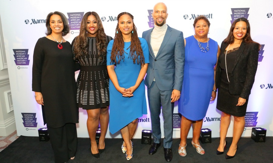 September 23: Common, Ava DuVernay and Jazmine Sullivan posed for a photo during the Marriott International's EncouragHERS Luncheon's EncouragHERS Luncheon in Washington, D.C. 