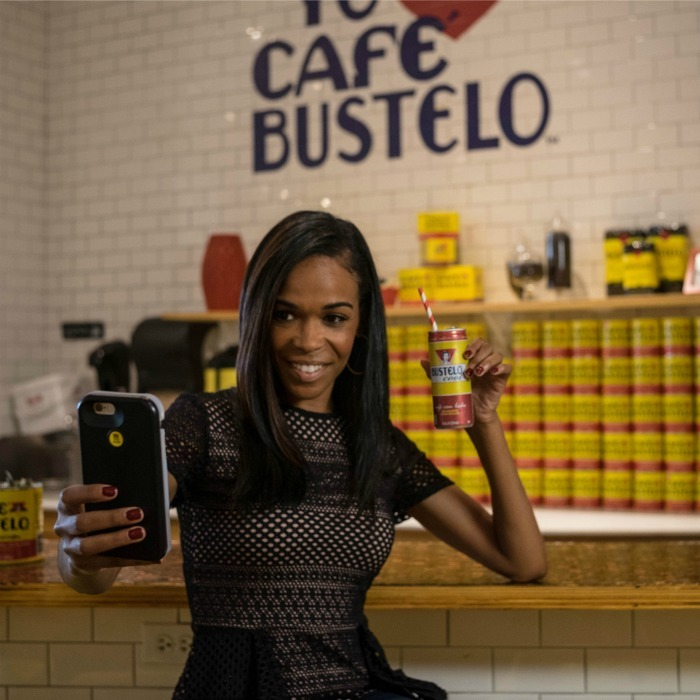 September 23: Coffee time! Michelle Williams stopped by the Café Bustelo Pop-Up Cafe in Chicago.