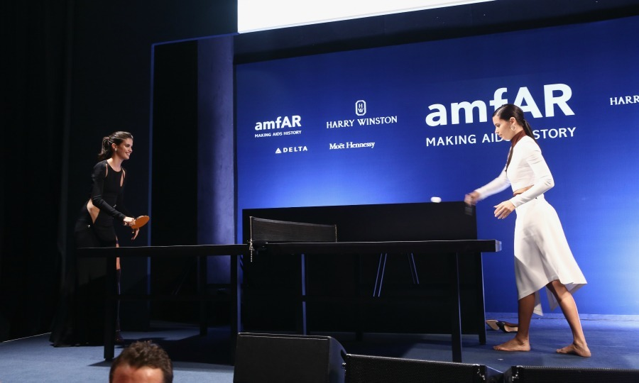 September 24: Adriana Lima and Sara Sampaio played a game of ping pong during amfAR Milano 2016. The organization raised nearly $2 million for the Foundation, a record amount for the amfAR Milano charity event. 