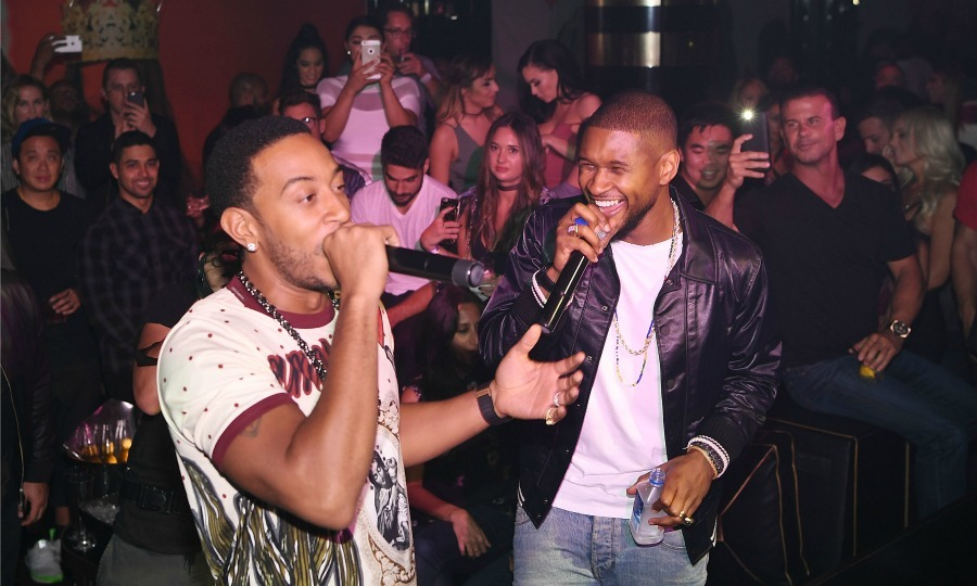 September 24: Usher and Ludacris brought the ATL to Las Vegas during Usher's official album release party for <i>Hard II Love</i> at 1 Oak at at the Mirage Hotel and Casino.