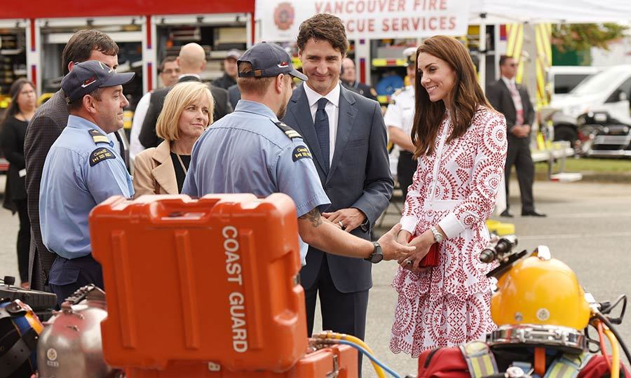 Duchess Kate joined Prime Minister Trudeau to chat with members of the Coast Guard during the tour. 