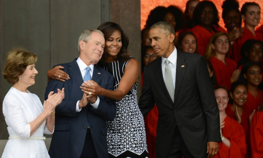 "September 24: Michelle Obama embraced President George W. Bush while <a href=""https://us.hellomagazine.com/tags/1/president-obama/""><strong>President Obama</strong></a> and former first lady Laura Bush looked on during the dedication ceremony for the National Museum of African American History and Culture in Washington, D.C. 