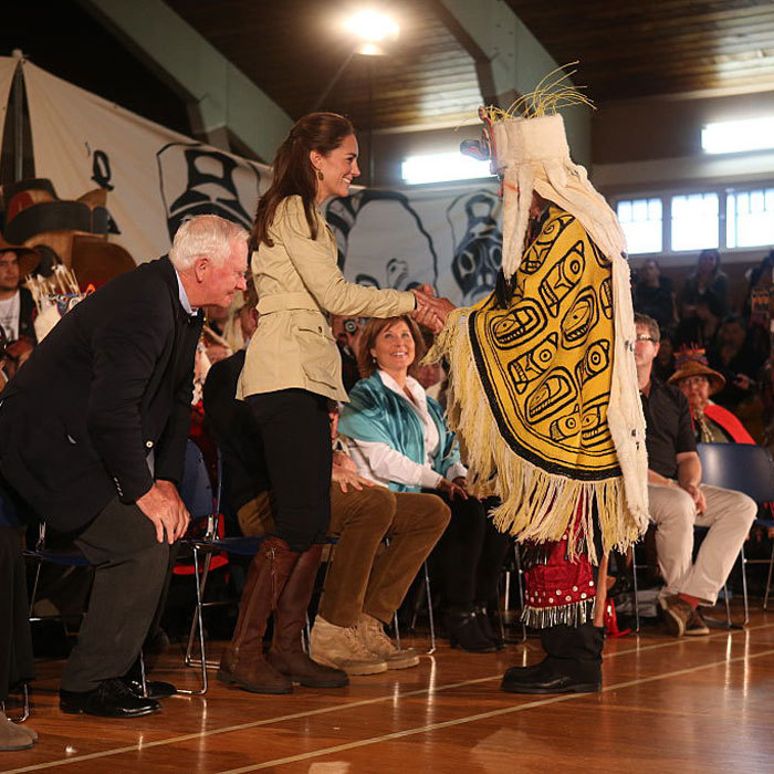 The royal couple were greeted by leaders of the Heiltsuk First Nation community and attended an official welcoming performance. 