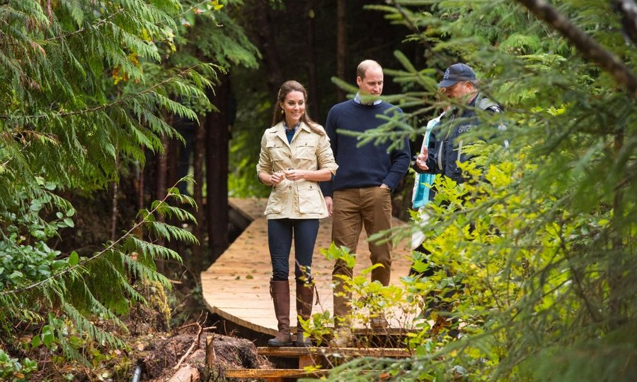 Earlier, the royal couple were decidedly more dressed down as they followed a path along a new wooden walkway through Great Bear Rainforest in Bella Bella.