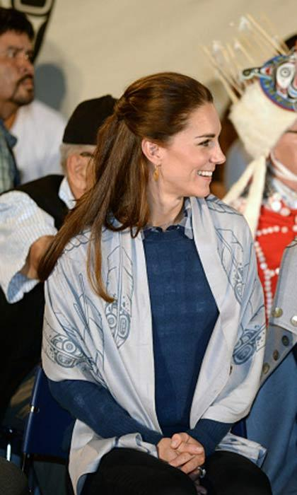 Kate looked effortlessly chic by styling her hair half up half down as she attended an official welcome and performance from Bella Bella First Nations Community at Wawiska Community Hall on September 26, 2016 in Bella Bella, Canada. 