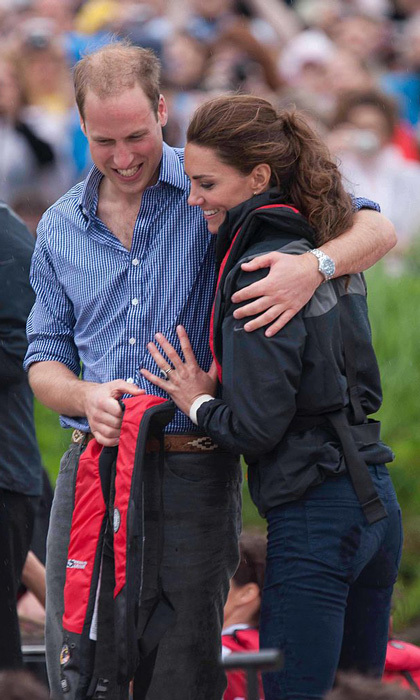 The royals cuddled close to each other on Prince Edward Island, after taking part in a dragon boat race at Dalvay-by-the-sea during their 2011 royal tour of Canada.