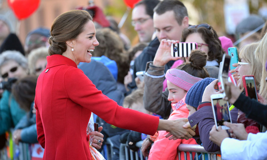 Kate laughed and shook hands with fans during a walkabout in Whitehorse.