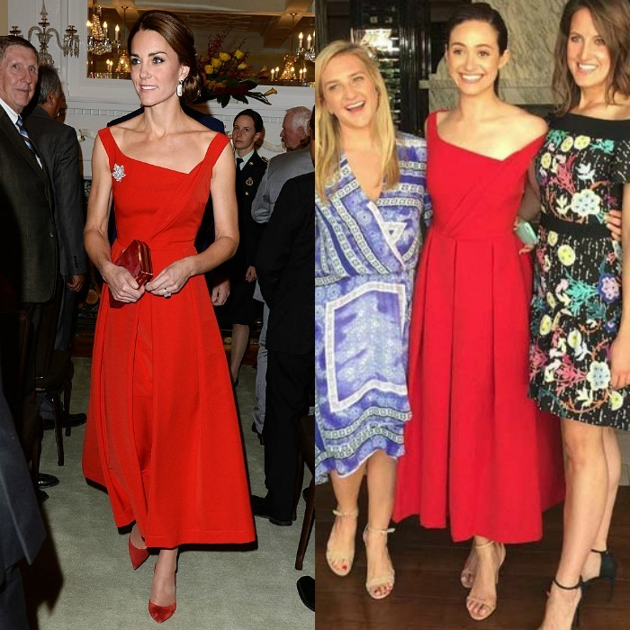 Ladies in red. The British royal and <b>Emmy Rossum</b> wore the same red Preen dress in a span of a couple of days. Kate donned the dress with the asymmetrical neckline to a reception held at Victoria's Government House during her 2016 royal tour of Canada. Meanwhile the <i>Shameless</i> actress wore the tea-length frock to her bridal shower luncheon at the Hotel Bel Air.