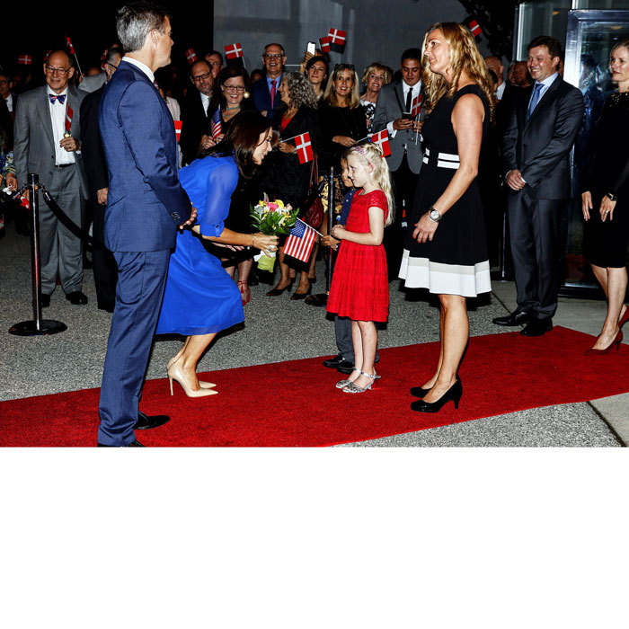 The Danish royals were greeted by a young girl and her American flag at the opening of a new exhibition Arts in Embassy Washington, D.C.