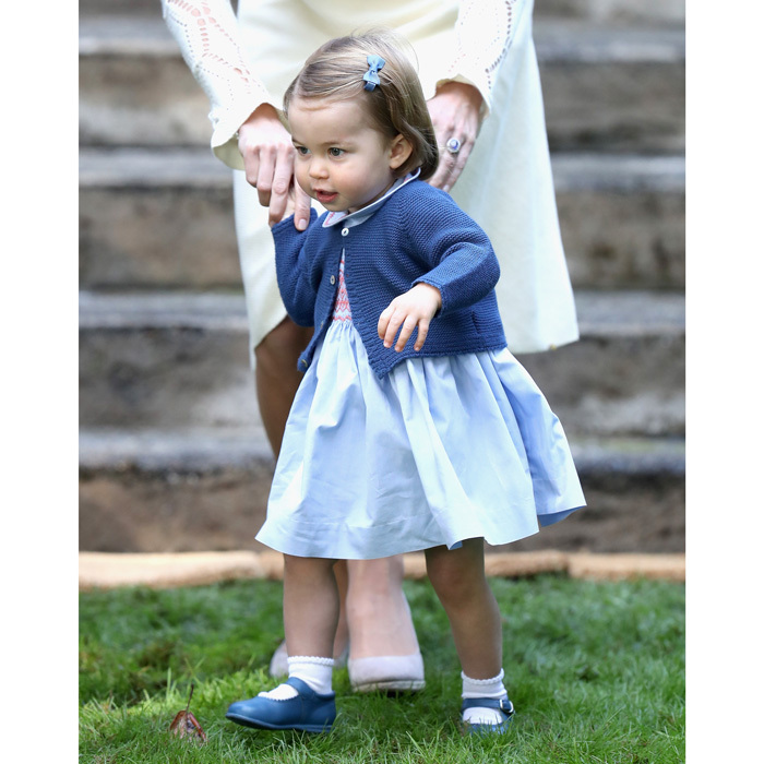 "The active Princess was seen publicly walking for the first time at the event. A group of military families, totaling 24 children and 24 adults from the Military Family Resource Centre, were invited to join the royals at the party, which Kensington Palace described as a ""morning of surprises.""