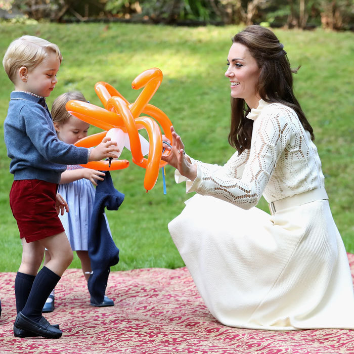 The siblings played with their stylish mother and balloons at a party thrown in their honor during the Cambridge family's royal tour of Canada.
