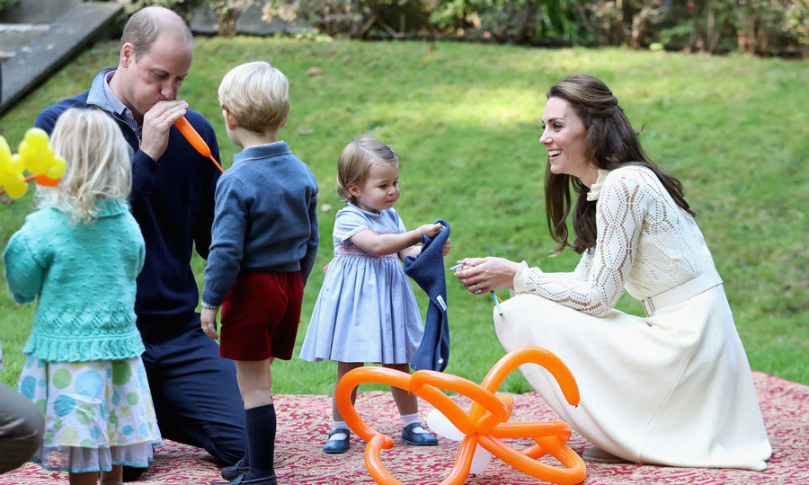 The Duke proved to be just like every other dad as he blew up a balloon for his son Prince George.