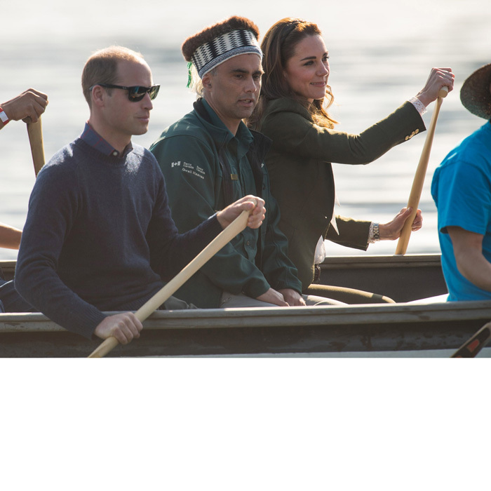 Earlier, Prince William and Kate Middleton got into formation - rowing formation that is, as they rowed a traditional Haida canoe to the Haida Heritage Centre in Haida Gwaii.