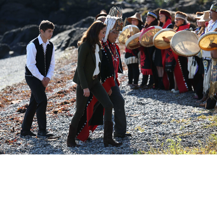 Upon their arrival to the island, the royal couple received a First Nations welcome from the hereditary leaders from the Haida nation.