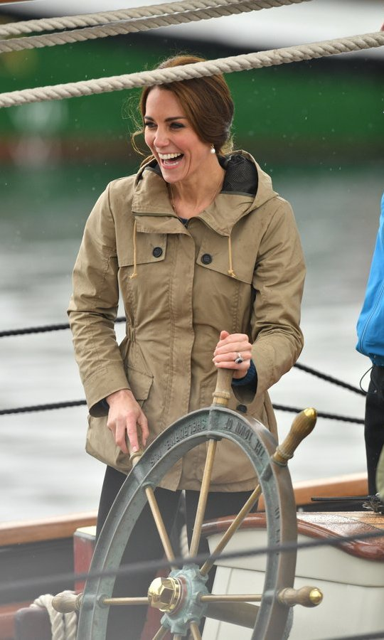 Earlier that morning, William and Kate had set sail on the <I>Pacific Grace</I> with members of the Sail and Life Training Society at Victoria Inner Harbour. The Duchess looked thrilled to take the wheel and steer the tall ship. 