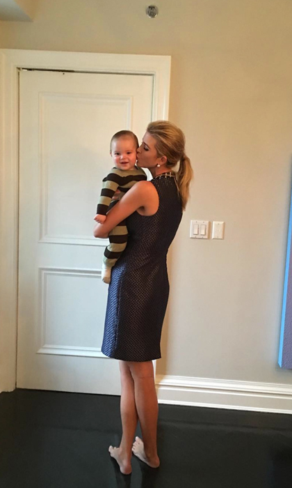 "Donald Trump's daughter cannot get enough of her baby boy! The mom-of-three shared a barefoot snap of herself and baby Theo writing, ""Snuggle time is the best time.""