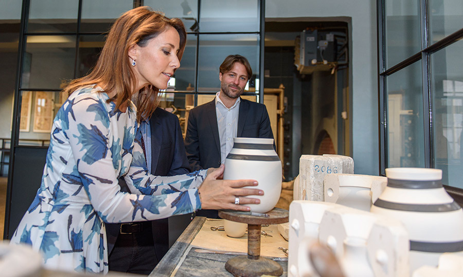 Princess Marie got crafty during the opening of the new Kahler ceramics factory in Nastved, Denmark. 