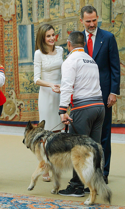 Queen Letizia of Spain and husband King Felipe VI received the Rio 2016 Paralympic medalists at El Pardo Palace in Madrid. 