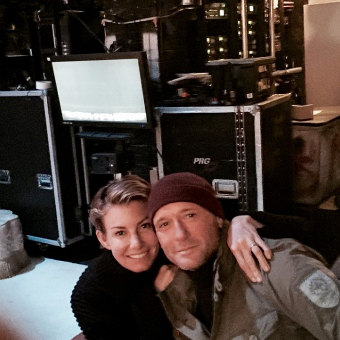 Faith and Tim sneaked in some cuddles backstage at the comedy <i>It's Only a Play</i> in New York.