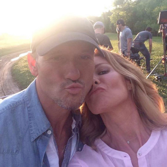 "Tim knows he's a lucky man! The <i>Humble and Kind</i> singer shared a kissy face photo with his wife simply captioned, ""@faithhill #luckyman.""