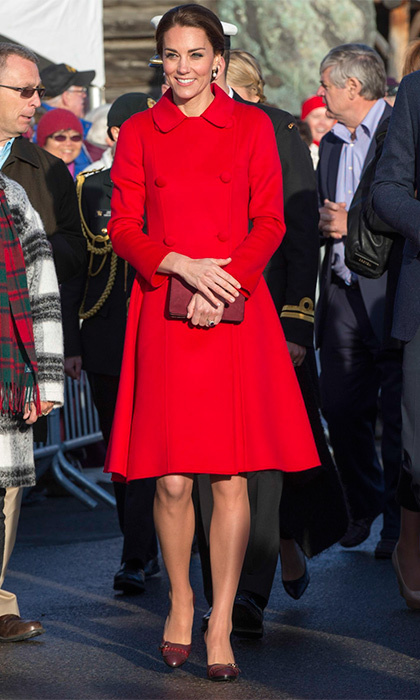 The Duchess looked gorgeous in a bright red Carolina Herrera coat while visiting the MacBride Museum in Whitehorse, Canada in September 2016.