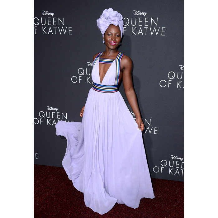 September 2016: The Oscar winner was a vision in a flowing purple Elie Saab frock, which she paired with a matching head wrap by Vernon François for the Los Angeles premiere of her new film, <i>Queen of Katwe</i>.