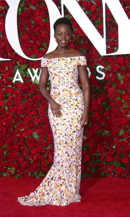 June 2016: Lupita was a beauty as she wore a floral pattered dress by Boss during her first appearance at the Tony Awards. 