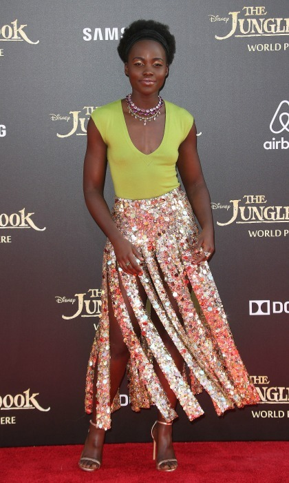 April 2016: Lupita dazzled in a custom piece by J. Crew as she twirled down the red carpet during the premiere of <i>The Jungle Book</i> in L.A.