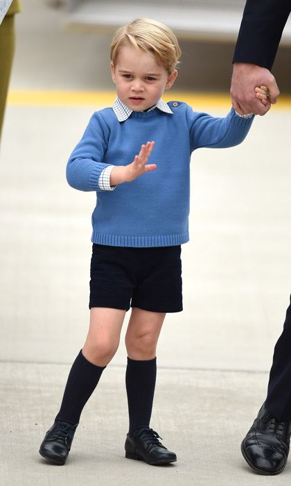 The British royal kicked off his 2016 tour of Canada on the tarmac of Victoria Airport wearing his trademark navy Amaia socks along with a blue sweater and dark-colored shorts from Pepa & Company.