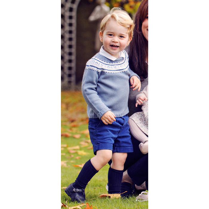 George looked cheery in a 2015 family photo sporting a  sweater by Spanish-based brand Fina Ejerique paired with blue shorts and his navy Amaia knee socks.