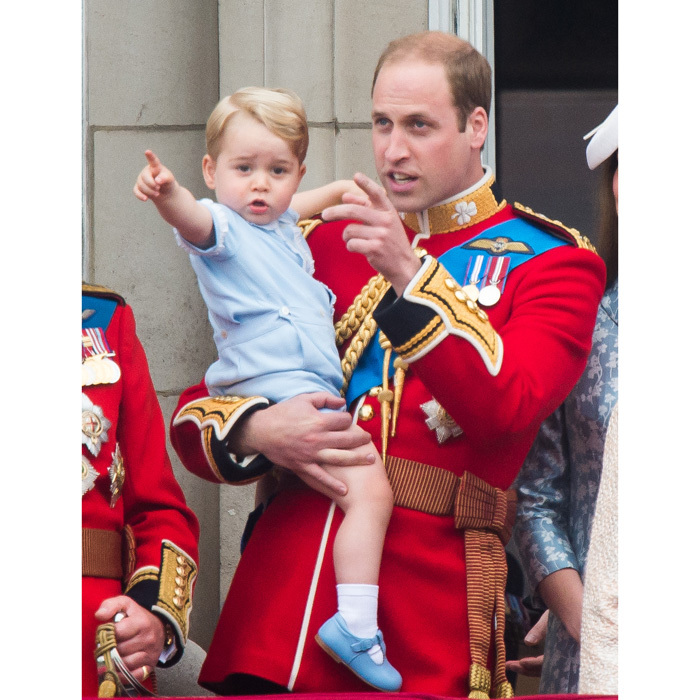 The Prince of Cambridge made his debut on the balcony of Buckingham Palace for the 2015 Trooping the Colour wearing the same blue shorts ensemble his father, William, wore to the 1984 Trooping. 