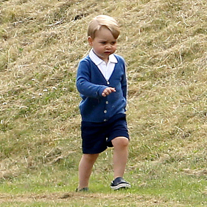 Prince William's son showed off his cheeky self at a polo match, rolling down hills in his Mayoral shorts and Olivier Baby cardigan. The royal completed his outdoors look with a pair of kids Crocs.