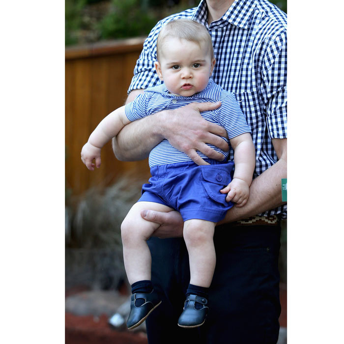 The adorable Prince stepped out in a striped polo and blue pocket shorts by Rachel Riley at the Taronga Zoo during his royal tour of Sydney, Australia.