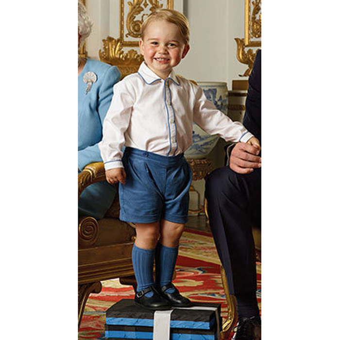 Prince George was the star of a commemorative stamp released by Royal Mail to celebrate Queen Elizabeth's 90th birthday. The royal tot donned his Rachel Riley cord shorts and long-sleeved shirt paired with his Amaia socks.