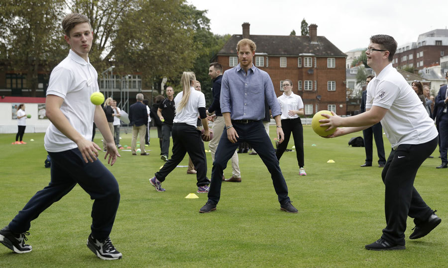 Harry took part in a skills exercise at Lord's Cricket Club in London. The athletic royal is no stranger to sports having him served as a games captain during his time at Eton College. He is also a patron of the Rugby Football Union All Schools Program. 