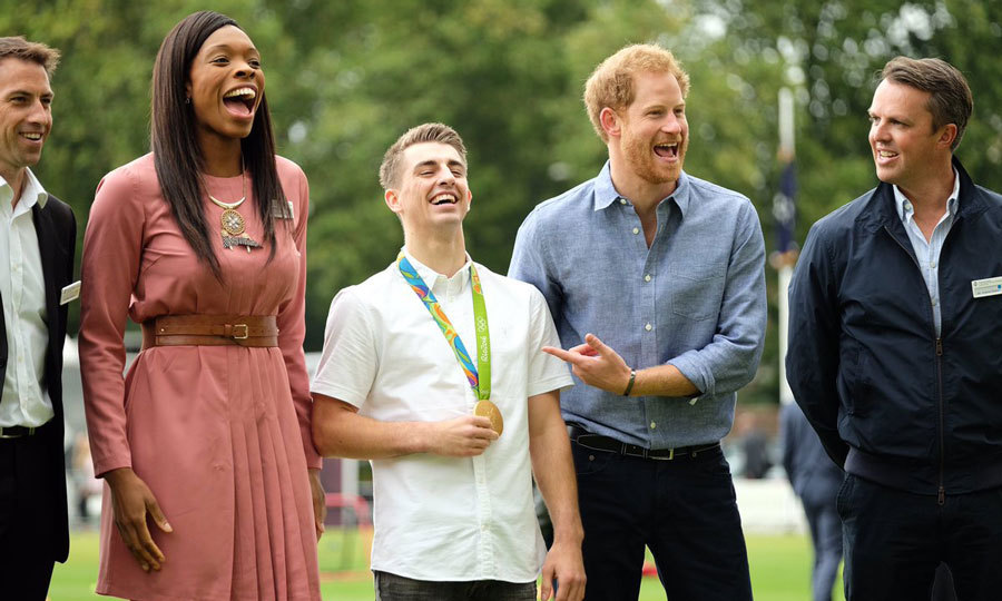 "The royal teased Britain's most decorated gymnast, Max, as he waited to take a photo with the athlete and other sports stars. Prince George's uncle shouted, ""When you're ready, Max. You don't win golds on timing obviously.""