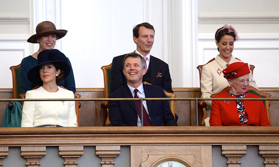 The Danish royals – Princess Benedikte, Prince Joachim and Princess Marie, back row, and Crown Princess Mary,  Crown Prince Frederik and Queen Margrethe, front –seemed to be seeing the funnier side of things at the opening of the Parliament at Christiansborg Palace.