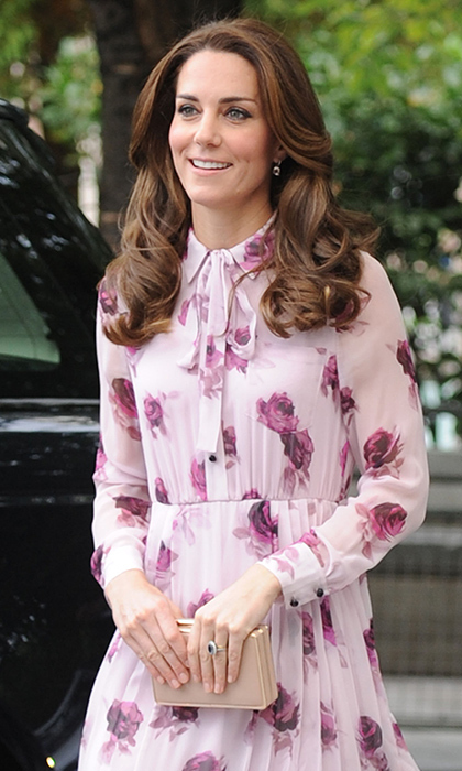 The stylish royal accessorized her look with her Kiki McDonough morganite and diamond cushion drop earrings and L.K. Bennett clutch bag.